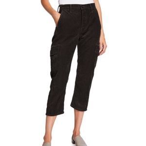 Vince Black Corduroy Flight Cargo Cropped Pants